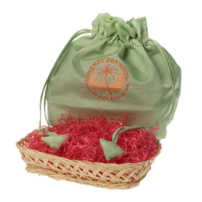 Apple green silk drawstring bag with wicker basket