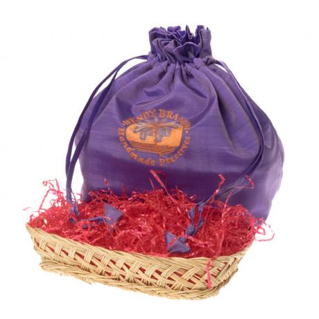 Violet silk drawstring bag with wicker basket