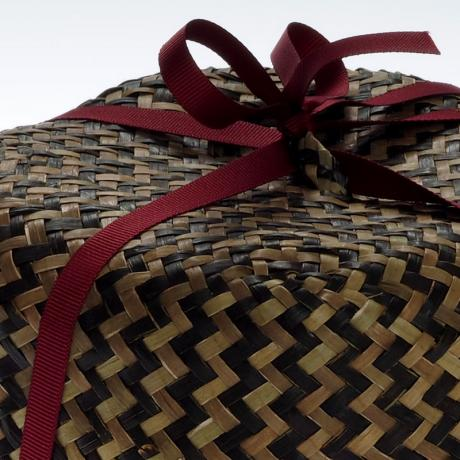 Large straw basket - close up detail showing ribbon