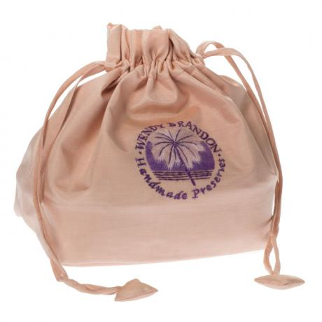 Peach silk drawstring bag