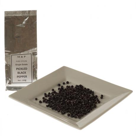 Sri Lankan Pickled Black Peppercorns with plate of peppercorns
